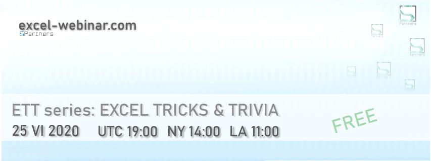 Webinar: Ecxel tricks and Trivia